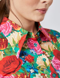 Women's Red & Cream Floral Fitted Shirt With Vintage Collar - Single Cuff