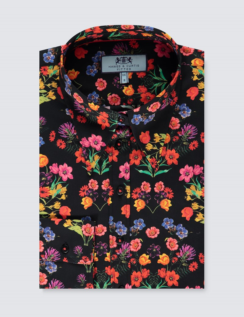 Women's Black & Red Vintage Floral Print Fitted Shirt - Single Cuff