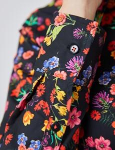 Bluse – Slim Fit – Baumwollstretch – Vintage Blumenprint schwarz & rot