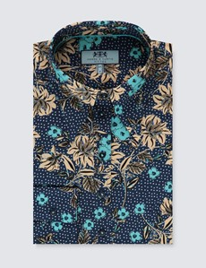Women's Navy & Light Blue Vintage Floral Spot Fitted Shirt - Single Cuff