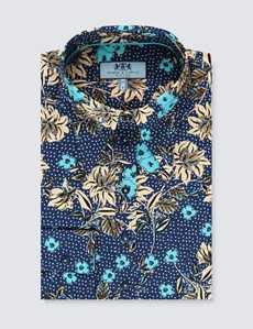 Women's Navy & Light Blue Vintage Spot Floral Fitted Shirt - Single Cuff