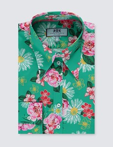 Women's Teal & Pink Vintage Floral Fitted Shirt - Single Cuff