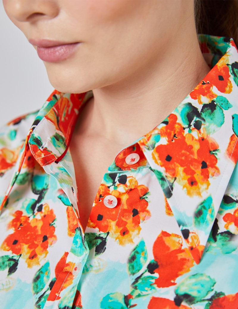 Women's Cream & Red Vintage Cason Rose Floral Fitted Shirt - Single Cuff