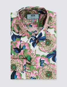Women's White & Pink Vintage Floral Fitted Shirt - Single Cuff