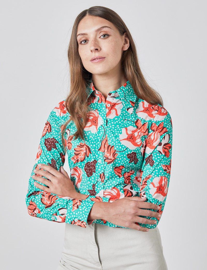 Women's Teal & Brown Vintage Floral Fitted Shirt - Single Cuff