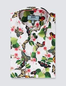 Bluse – Slim Fit – hoher Kragen – Baumwollstretch – grün Vintage Blumen & Schmetterlinge