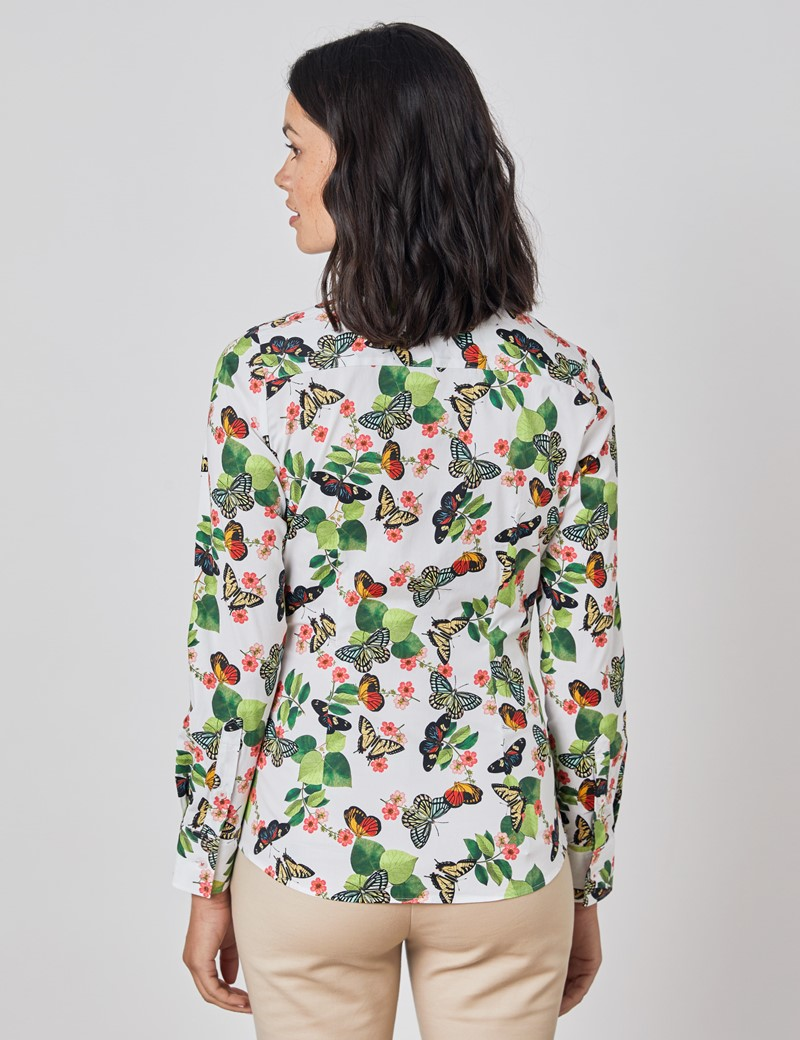 Women's White & Green Vintage Butterfly and Floral Fitted Shirt - Single Cuff