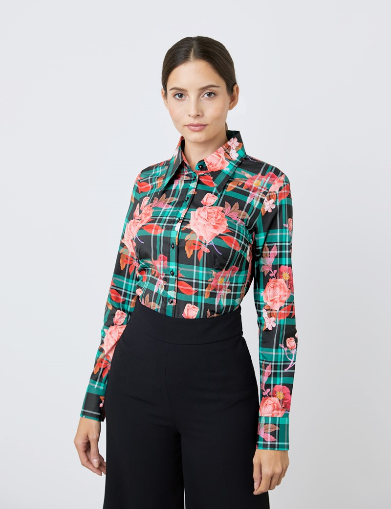 Women's Olive Tartan Roses Print Fitted Shirt with Vintage Collar - Single Cuff