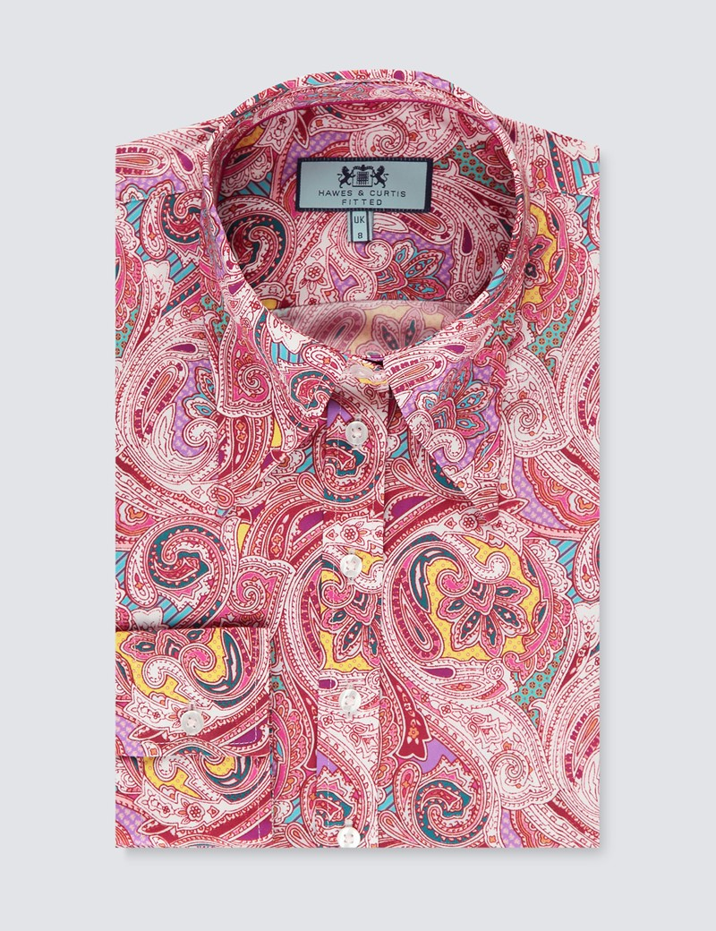 Women's Wine & Pink Paisley Print Fitted Shirt with Vintage Collar - Single Cuff