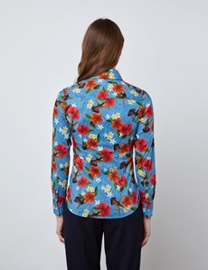 Women's Blue & Red Hibiscus Print Fitted Shirt with Vintage Collar - Single Cuff