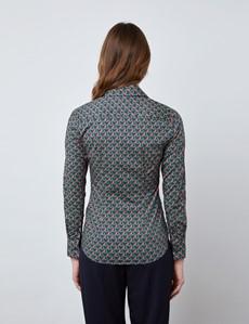Bluse – Slim Fit – Baumwollstretch – blaugrün geometrisches Muster
