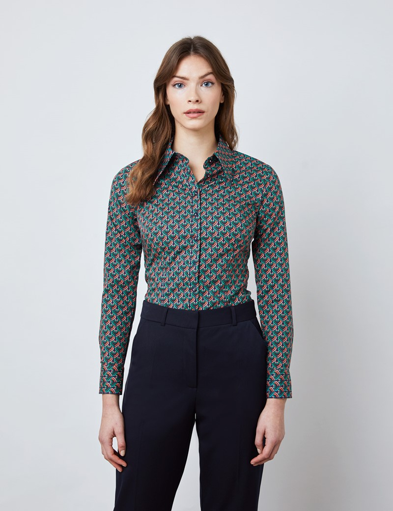 Women's Navy & Teal Geometric Print Fitted Shirt with Vintage Collar - Single Cuff