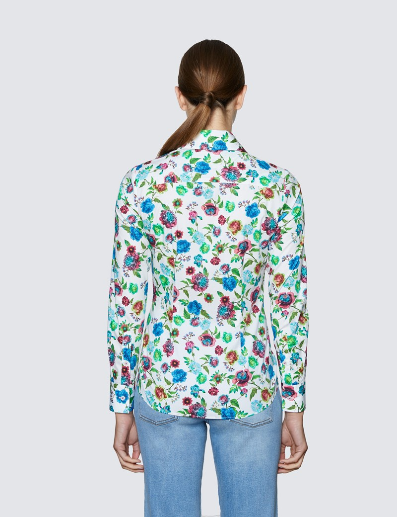 Women's White & Green Multi Roses Print Fitted Shirt with Vintage Collar - Single Cuff