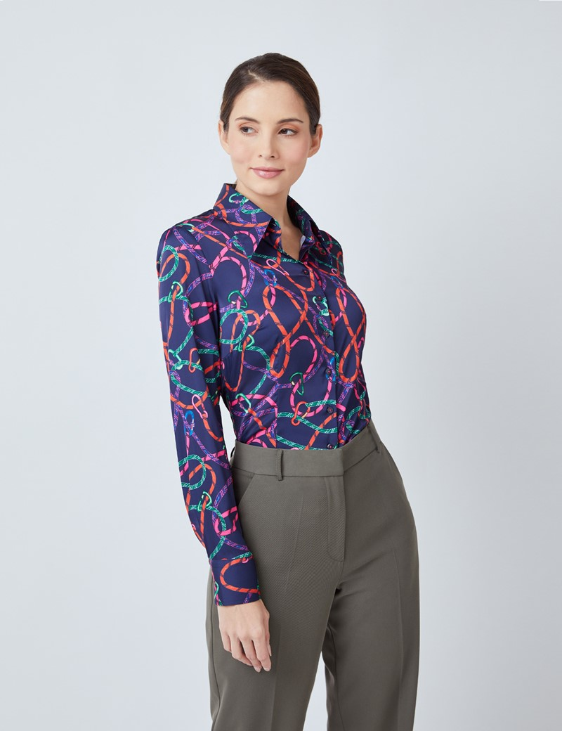 Women's Navy & Orange Rope Print Satin Blouse