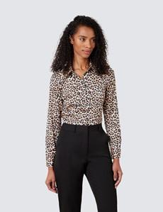 Women's Brown & Beige Leopard Print Satin Blouse