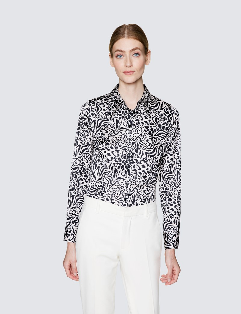 Ladies Cream and Black Satin Fitted shirt