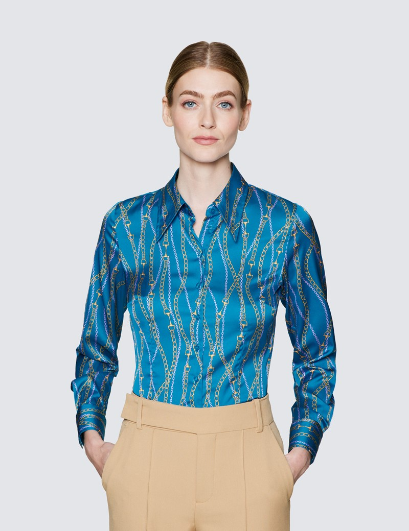 Ladies Turquoise and Pink Satin Fitted Shirt