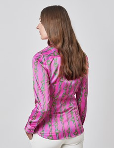 Women's Pink & Green Hearts and Chains Print Vintage Collar Fitted Satin Shirt - Single Cuff