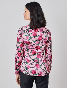 Women's Pink & Black Padlocks and Roses Print Vintage Collar Fitted Satin Shirt - Single Cuff