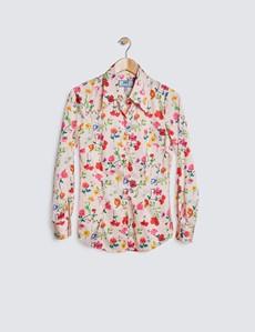 Satinbluse – Slim Fit – Vintage-Kragen – Pink Rot Blumenprint