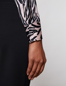 Women's Pink & Black Animal Print Vintage Collar Satin Fitted Blouse