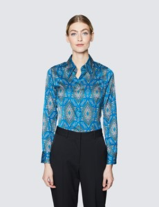 Women's Blue & Brown Paisley Print Vintage Collar Satin Fitted Blouse