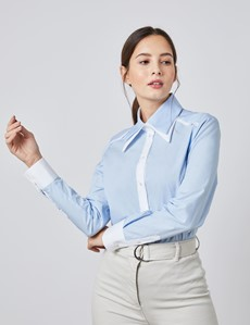 Women's Light Blue Double Collar Semi Fitted Shirt - Design Competition