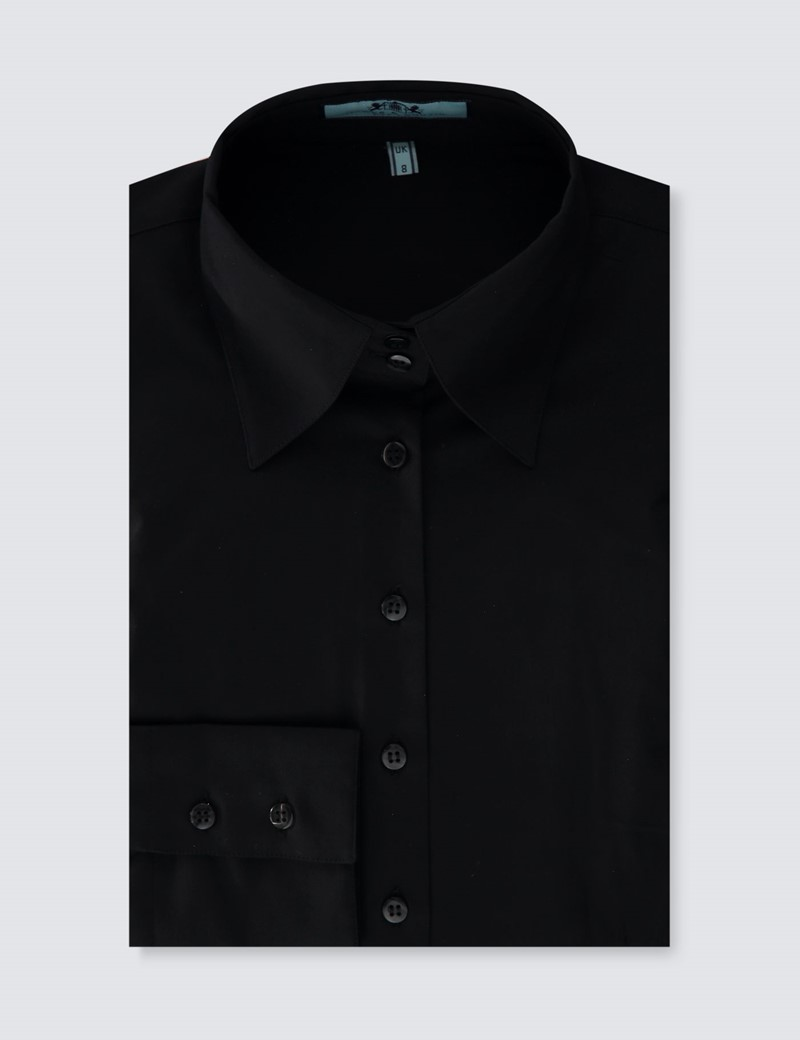 Women's Black Fitted Shirt with High Long Collar - Single Cuff