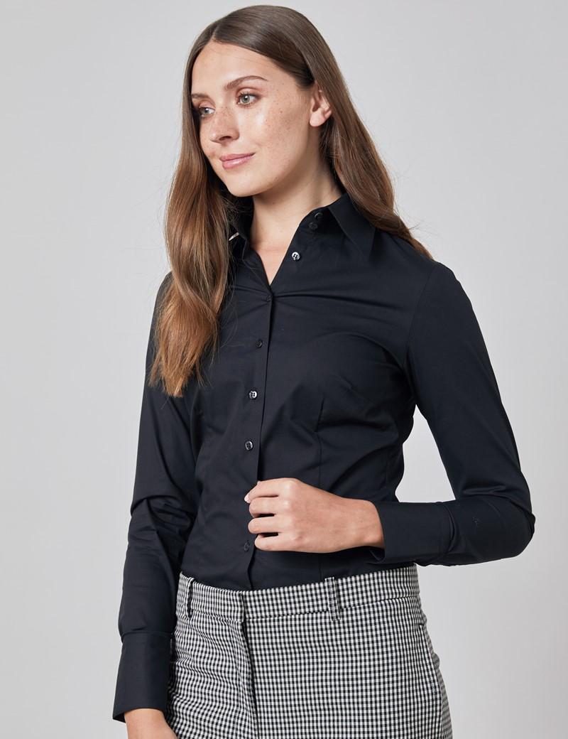 Bluse – Slim Fit – extra hoher Kragen – Baumwollstretch – schwarz