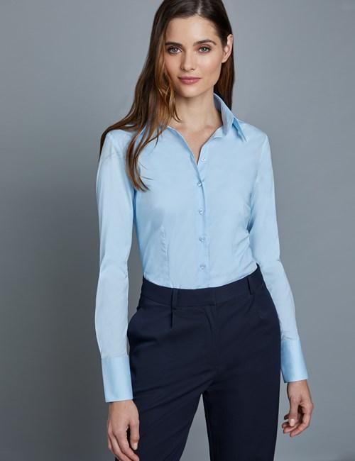 Bluse – Slim Fit – 2 Knopf Kragen – Baumwollstretch – Helles Blau