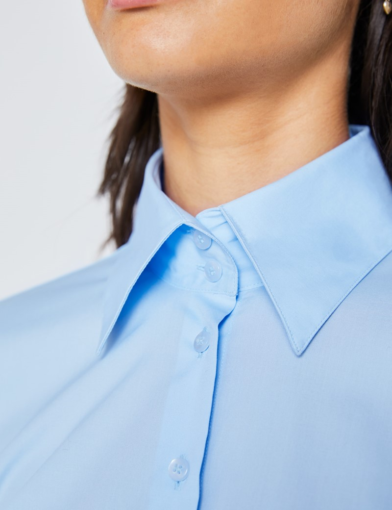 Women's Ice Blue Fitted Shirt with High Long Collar - Single Cuff