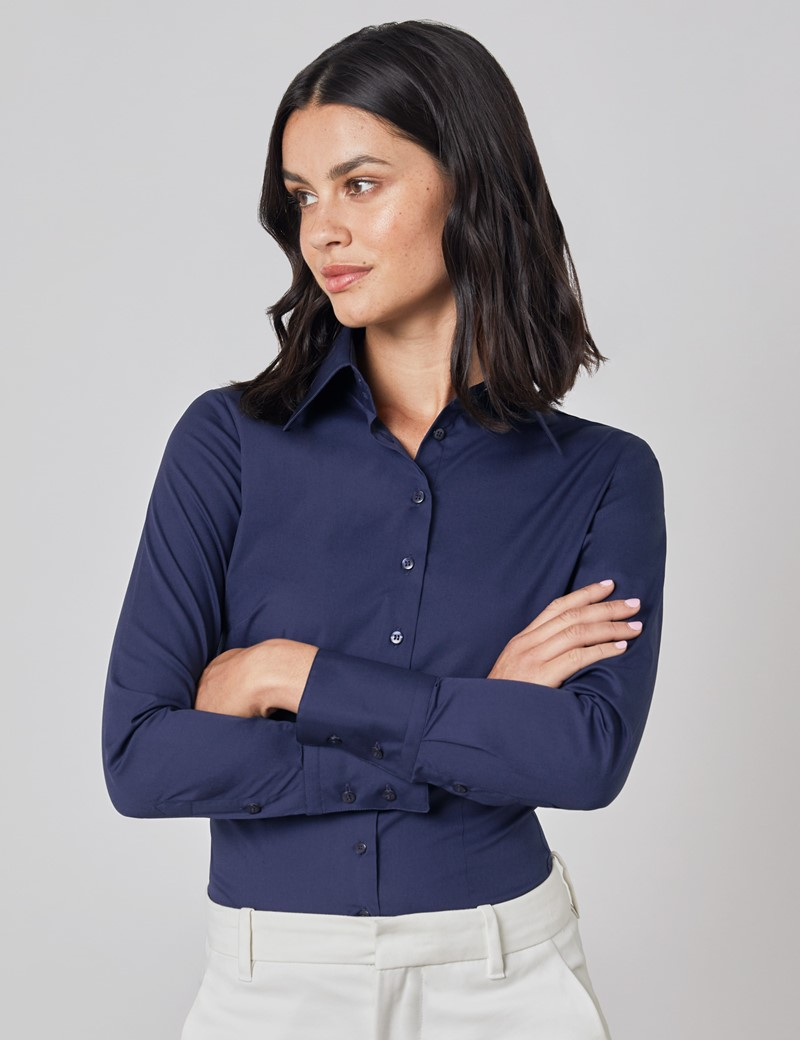 Women's Navy Fitted Shirt with High Long Collar - Single Cuff