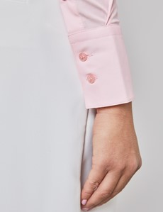Women's Light Pink Fitted Shirt with High Long Collar - Single Cuff