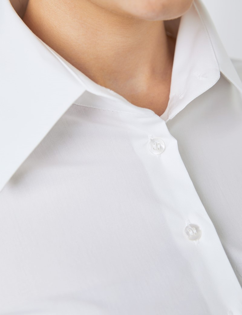 Women's White Fitted Shirt with High Two Button Collar - Single Cuff