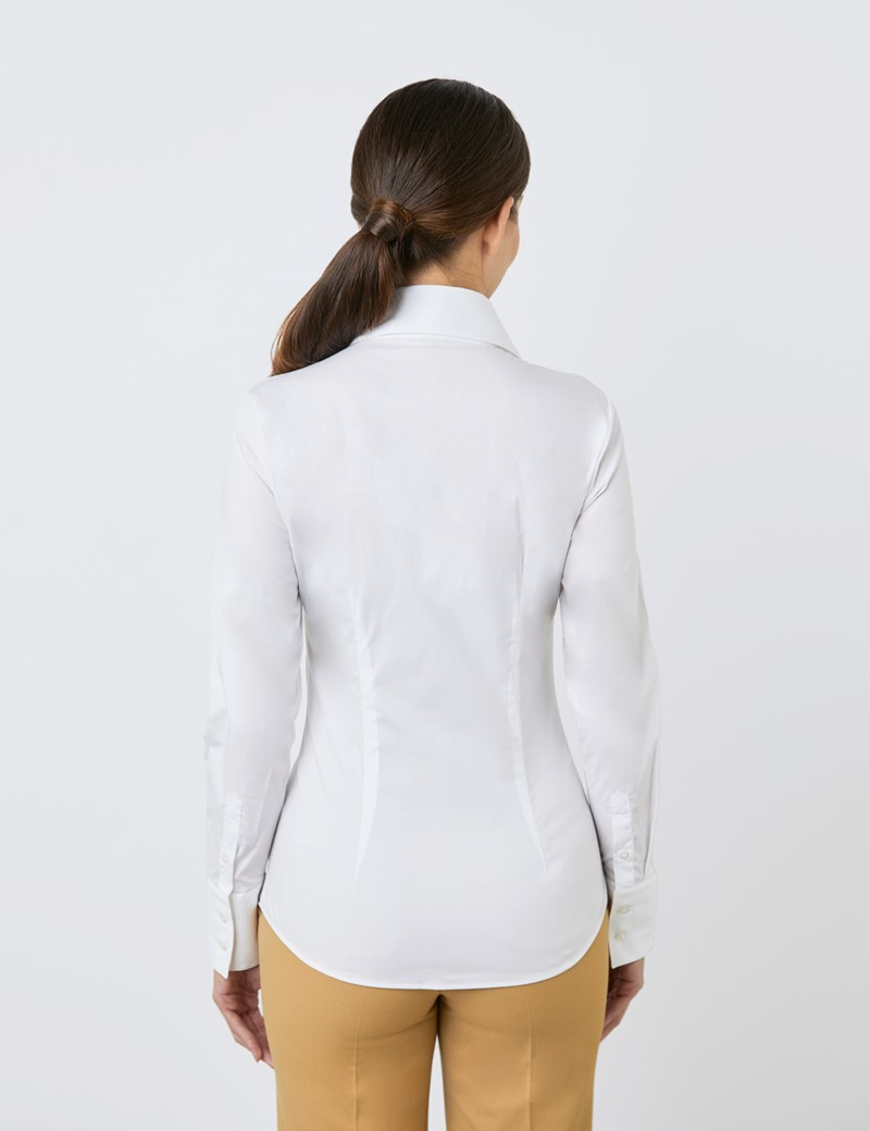 Women's White Fitted Shirt with High Long Collar - Single Cuff
