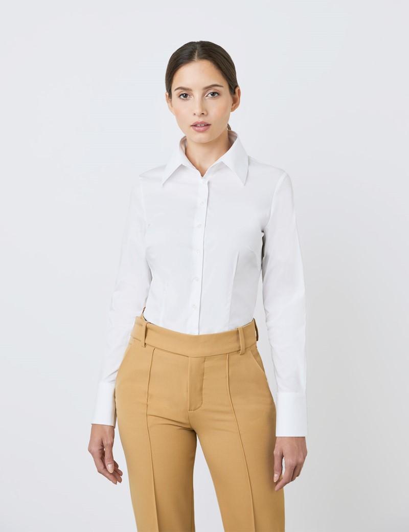 Bluse – Slim Fit – extra hoher Kragen – Baumwollstretch – Weiß