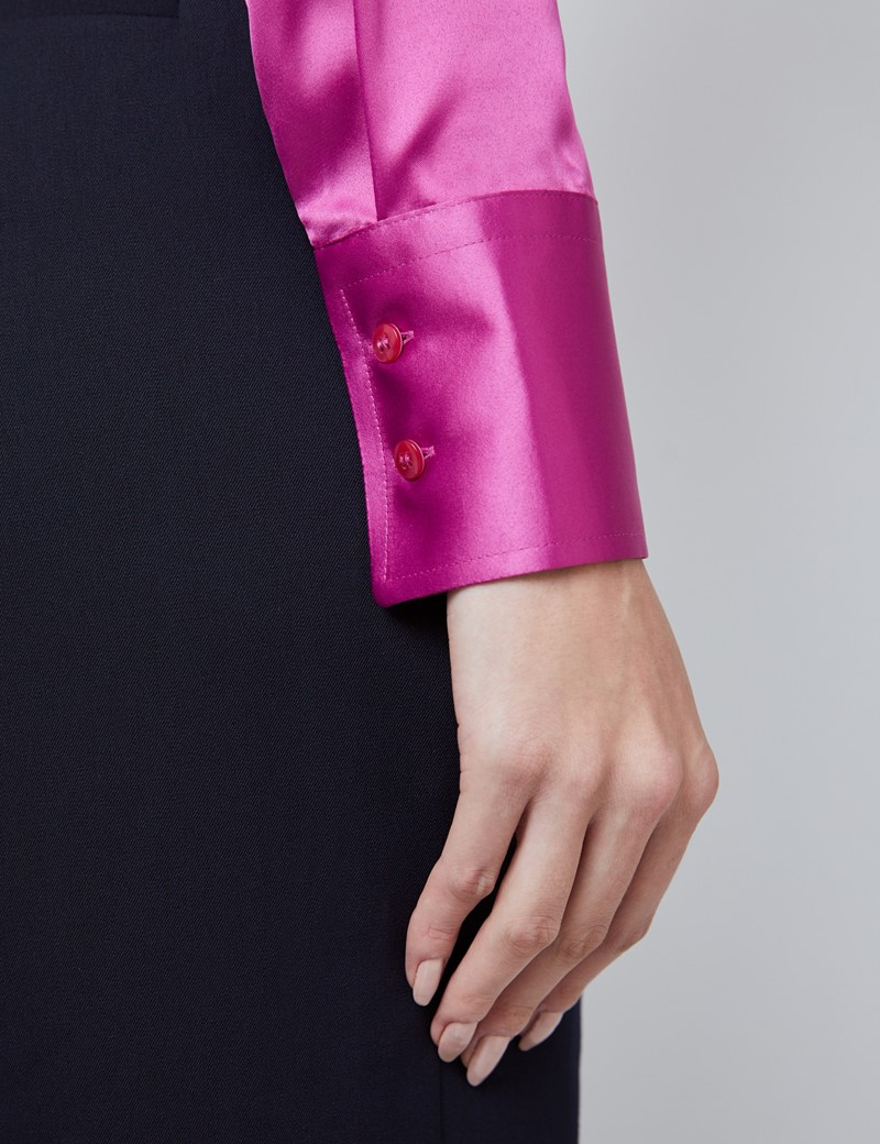 Women's Magenta Fitted Satin Vintage Collar Shirt - Single Cuff