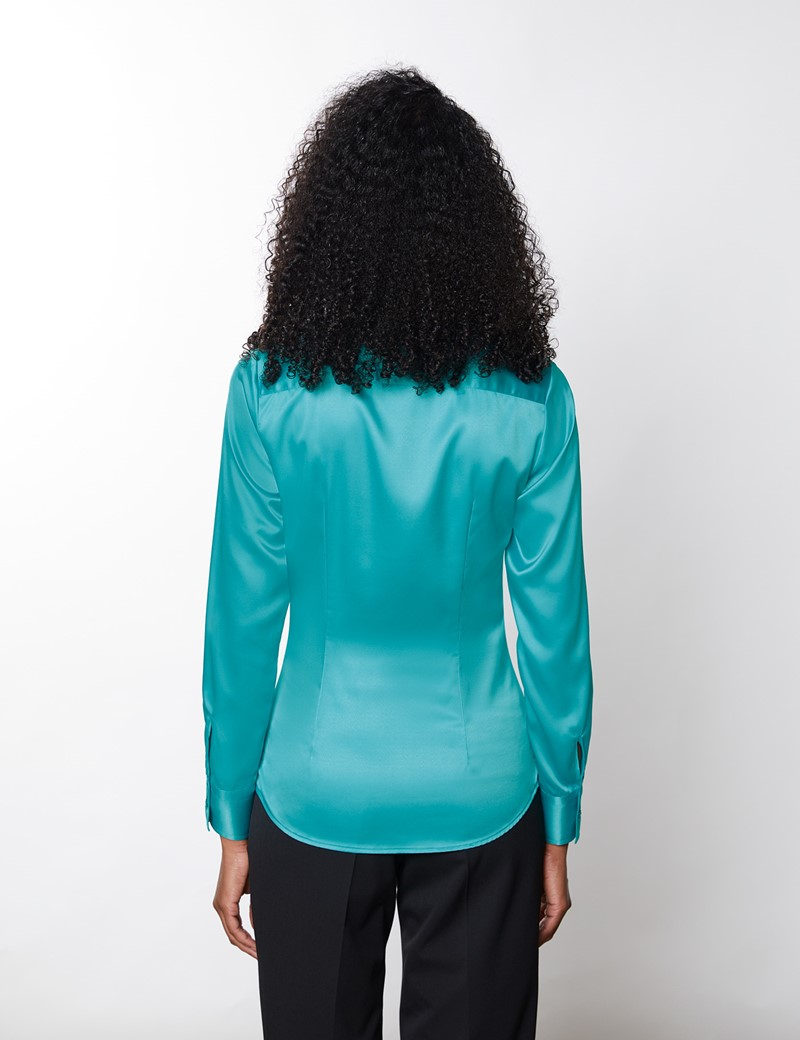 Women's Aqua Vintage Collar Satin Fitted Blouse