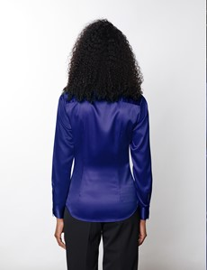 Women's Royal Blue Vintage Collar Satin Fitted Blouse