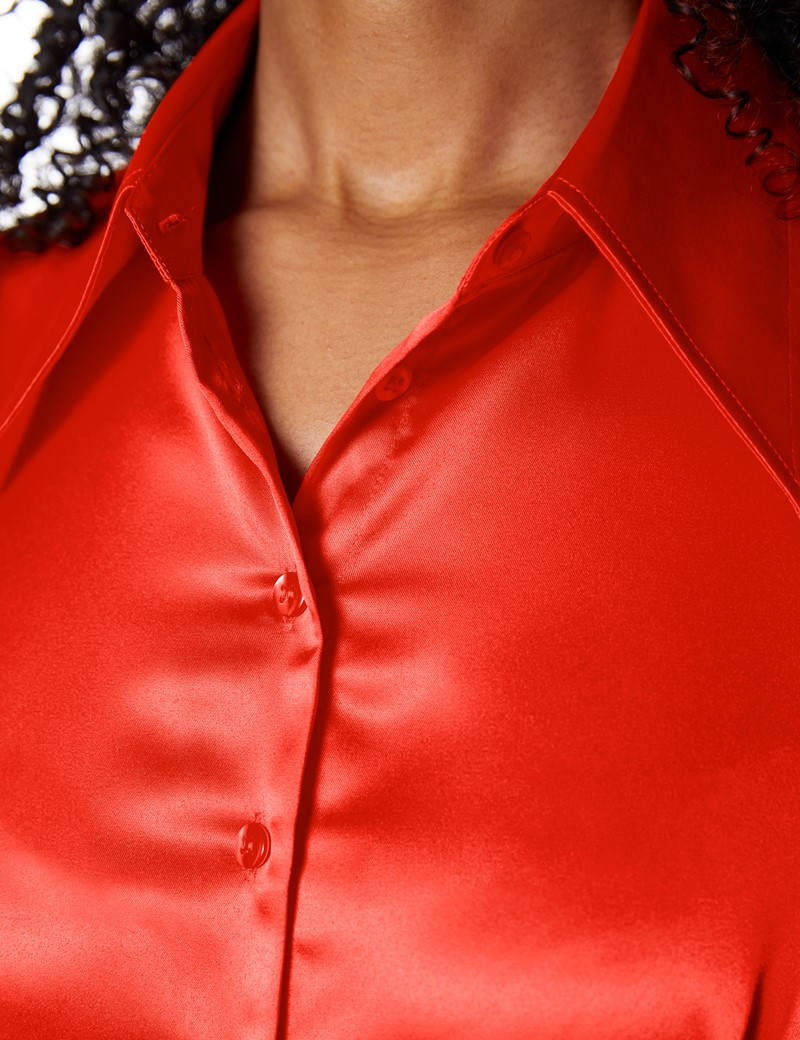 Women's Paprika Vintage Collar Satin Fitted Blouse