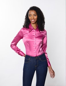 Women's Peony Vintage Collar Satin Fitted Blouse