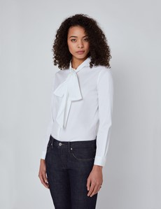Women's White Relaxed Fit Luxury Cotton Nylon Shirt With Tie Detail