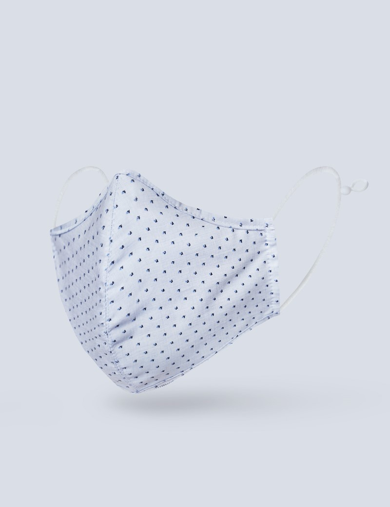 Floral Light Blue Face Mask - Cotton