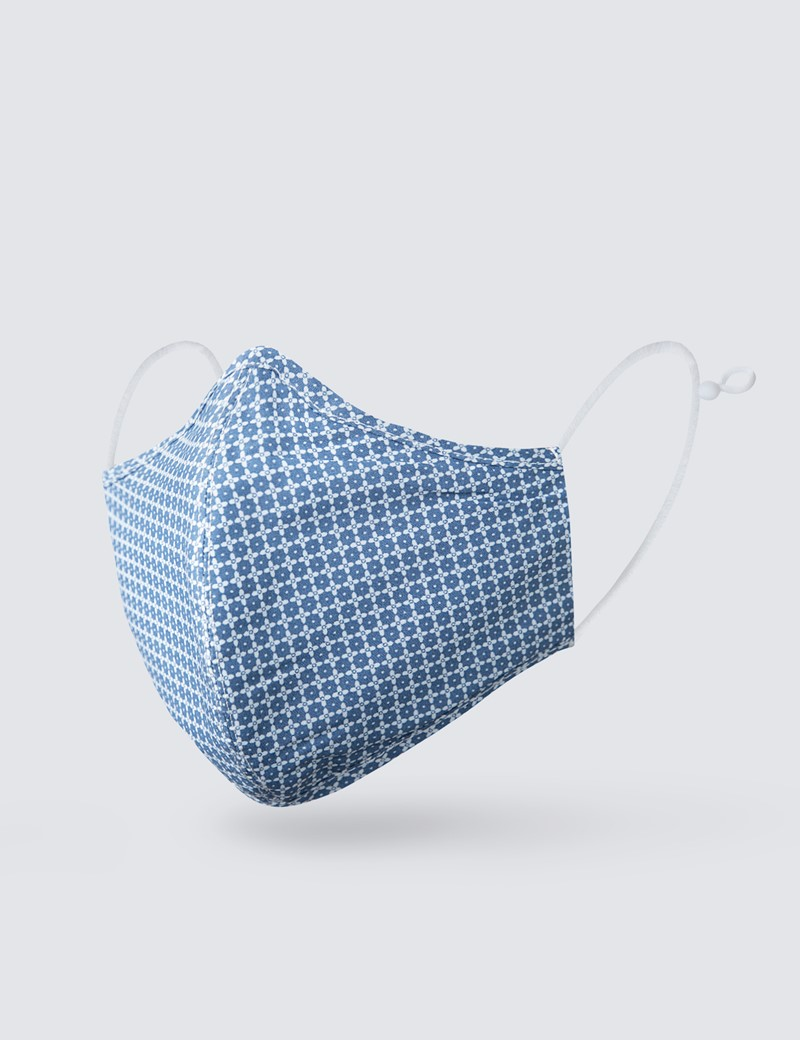 Blue & White Geometric Print Face Mask - Cotton