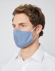 Blue & White Geometric Print Face Mask - Cotton