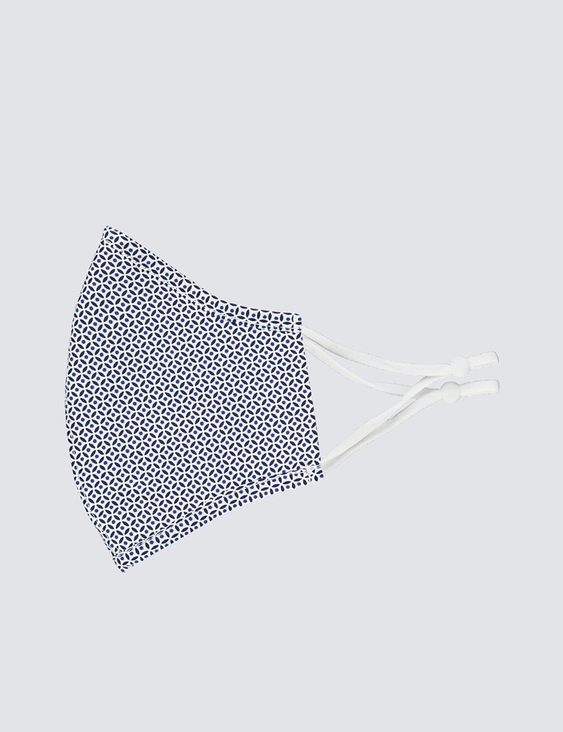 Navy & Blue Geometric Spot Print Face Mask - Cotton
