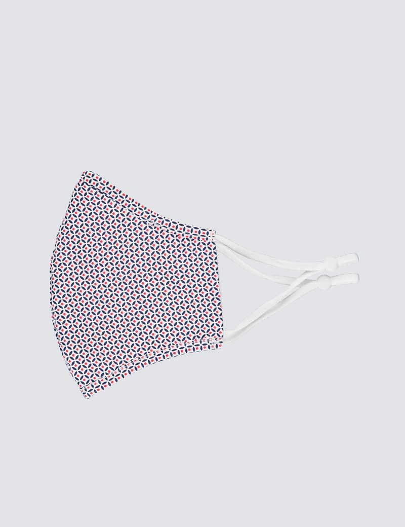 Navy & Red Geometric Spot Print Face Mask - Cotton