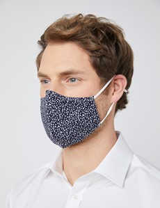 Navy & White Tiny Floral Print Face Mask - Cotton