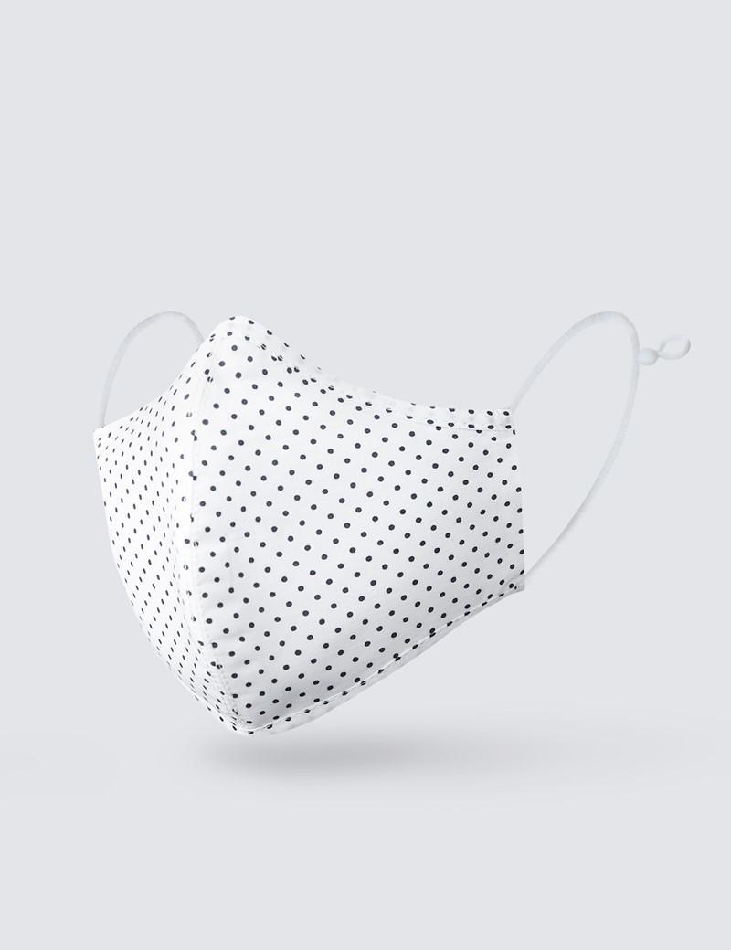 White & Black Little Spots Face Mask - Cotton