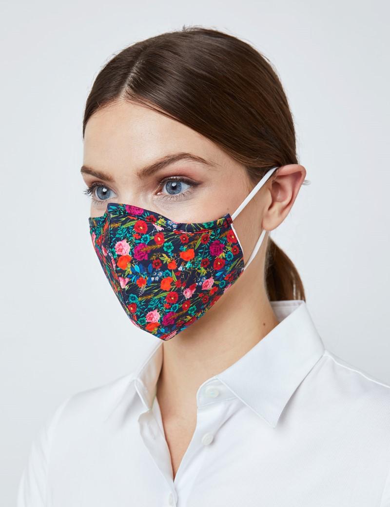 Navy & Orange Floral Face Mask - Cotton